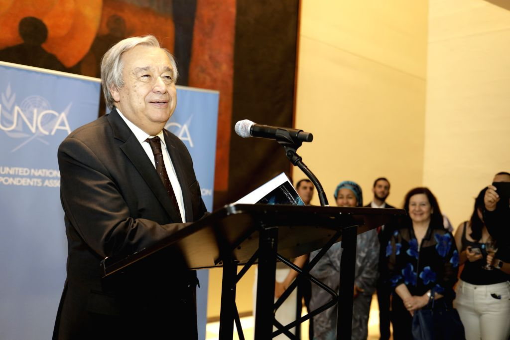 UNITED NATIONS, June 20, 2019 (Xinhua) -- UN Secretary-General Antonio Guterres addresses a celebration of the 71st anniversary of the UN Correspondents Association at the UN headquarters in New York, June 19, 2019. Antonio Guterres expressed appreci