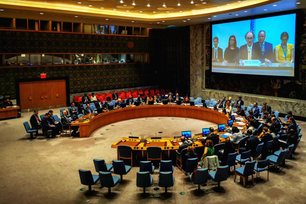 UNITED NATIONS, June 27, 2019 (Xinhua) -- United Nations Special Envoy for Syria Geir Pedersen (front, on screen) briefs the Security Council on the situation in Syria, at the UN headquarters in New York, June 27, 2019. China's permanent representati