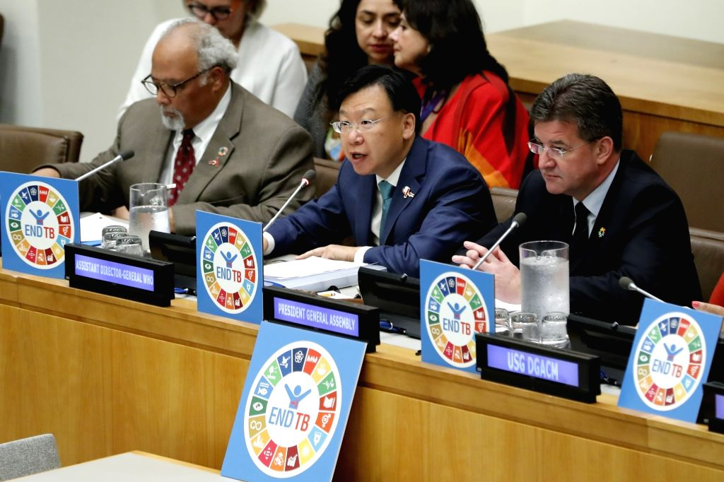 UNITED NATIONS, June 4, 2018 - Ren Minghui (C, Front), Assistant Director-General for Communicable Diseases, World Health Organization (WHO), addresses a civil society hearing on tuberculosis at the ...