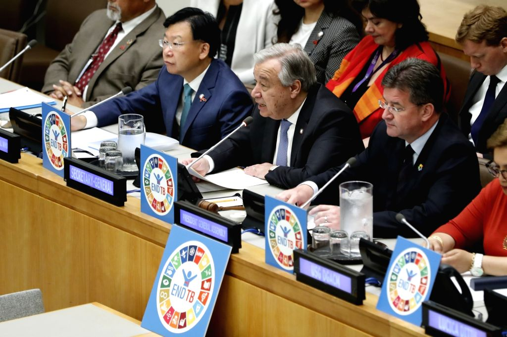 UNITED NATIONS, June 4, 2018 - United Nations Secretary-General Antonio Guterres (C, Front) addresses a civil society hearing on tuberculosis at the United Nations headquarters in New York, on June ...