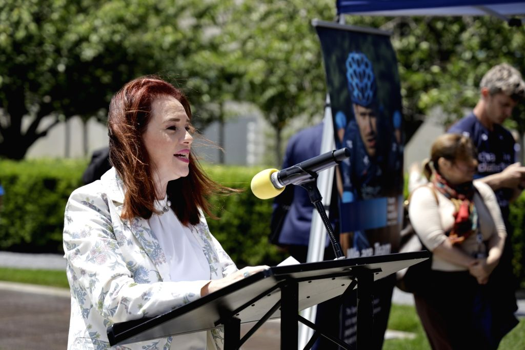 UNITED NATIONS, June 4, 2019 - President of the UN General Assembly Maria Fernanda Espinosa Garces addresses an event to commemorate the first World Bike Day at the UN headquarters in New York, June ...