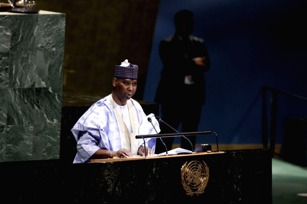 UNITED NATIONS, June 5, 2019 - Tijjani Muhammad-Bande addresses at the UN headquarters in New York on June 4, 2019. The United Nations General Assembly (UNGA) on Tuesday picked Tijjani ...