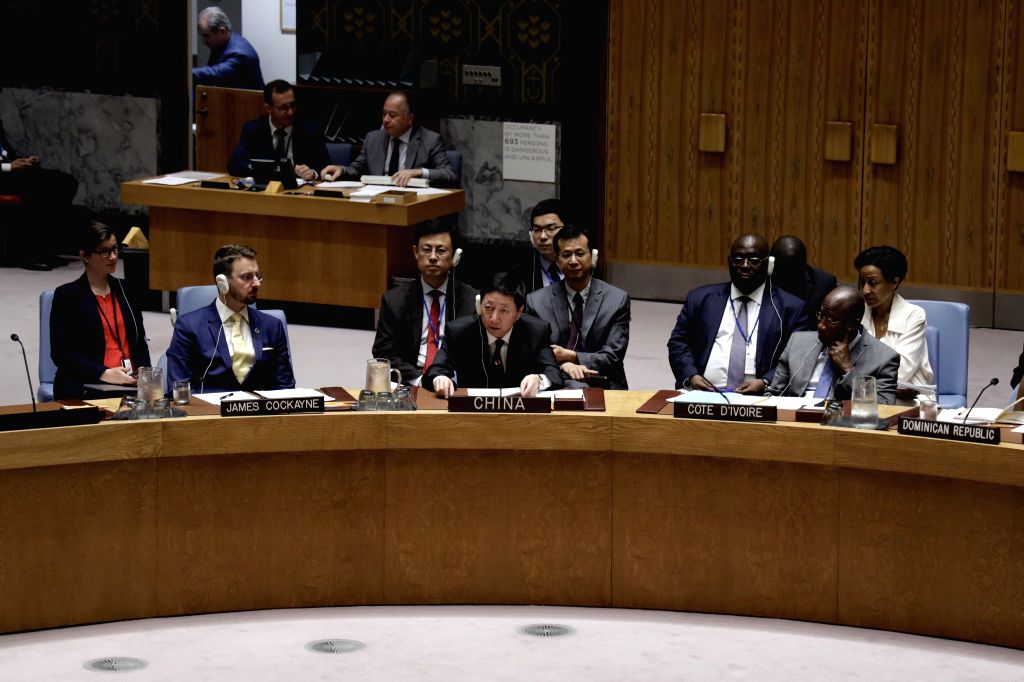 UNITED NATIONS, June 6, 2019 - Wu Haitao (C, front), China's deputy permanent representative to the United Nations, addresses a Security Council open debate on its working methods at the UN ...