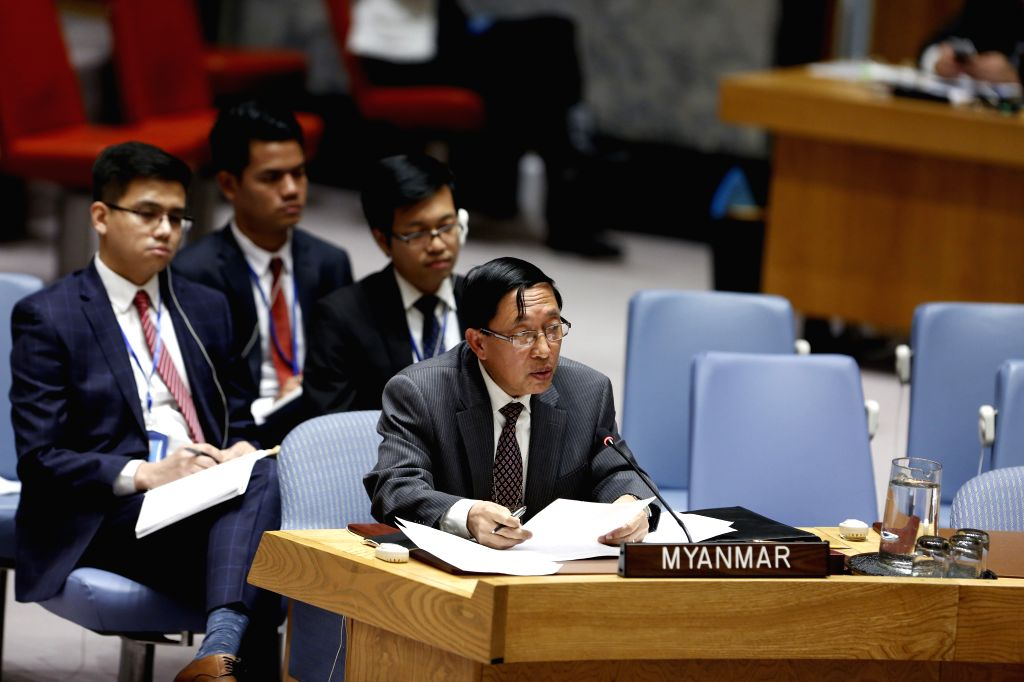 UNITED NATIONS, March 1, 2019 - Hau Do Suan (front), Myanmar's Permanent Representative to the United Nations, addresses a Security Council meeting on the situation in Myanmar, at the UN headquarters ...