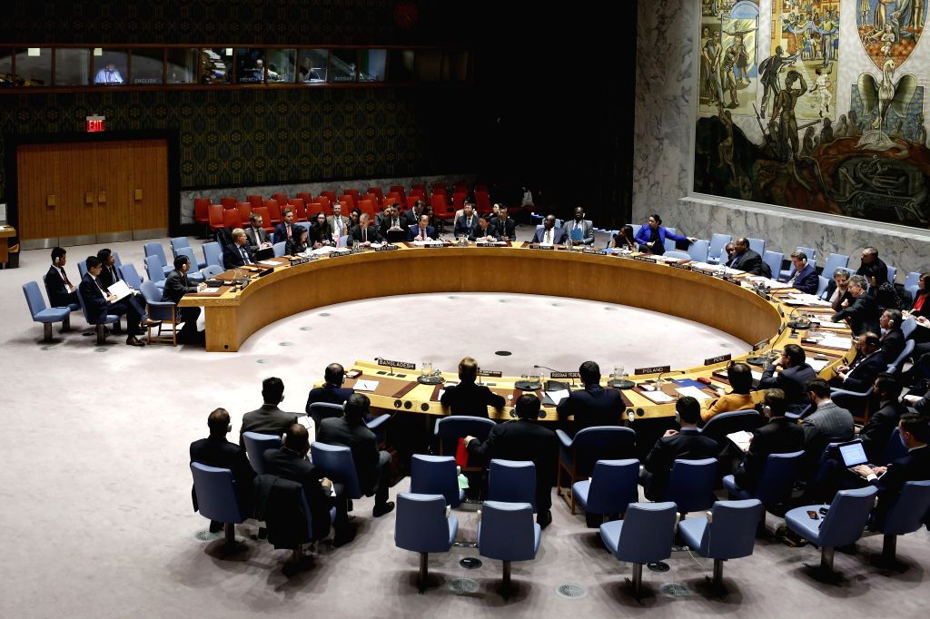 UNITED NATIONS, March 1, 2019 - Photo taken on Feb. 28, 2019 shows the United Nations Security Council holding a meeting on the situation on Myanmar, at the UN headquarters in New York. A ...