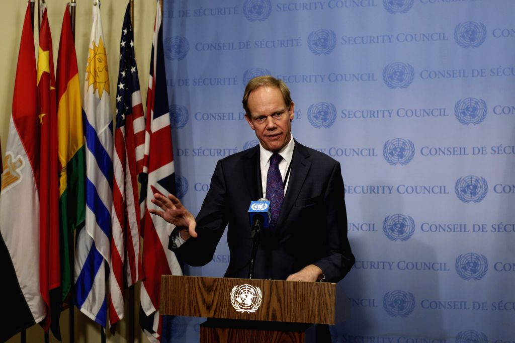 UNITED NATIONS, March 11, 2017 - Matthew Rycroft, permanent representative of the United Kingdom to the United Nations, speaks to the press on Syrian peace talks, at the UN headquarters in New York, ...