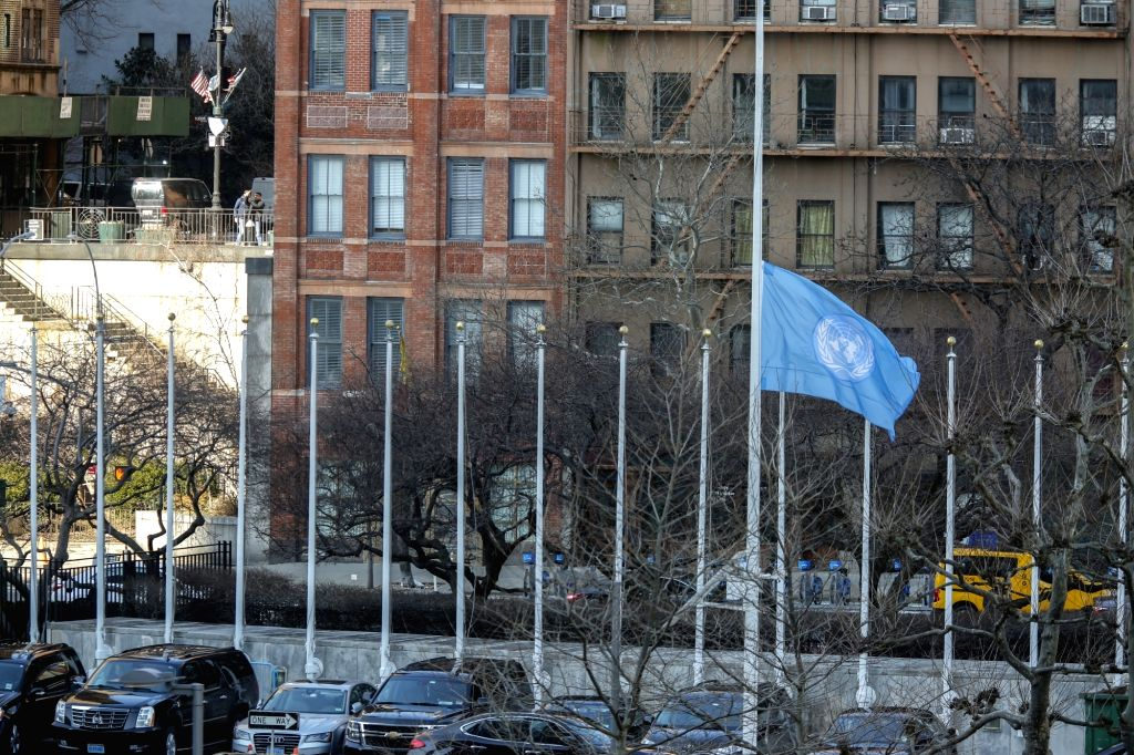 UNITED NATIONS, March 11, 2019 - The United Nations flag flies at half-mast in memory of the UN staff members killed in the Ethiopian air crash at the UN headquarters in New York, March 11, 2019. The ...