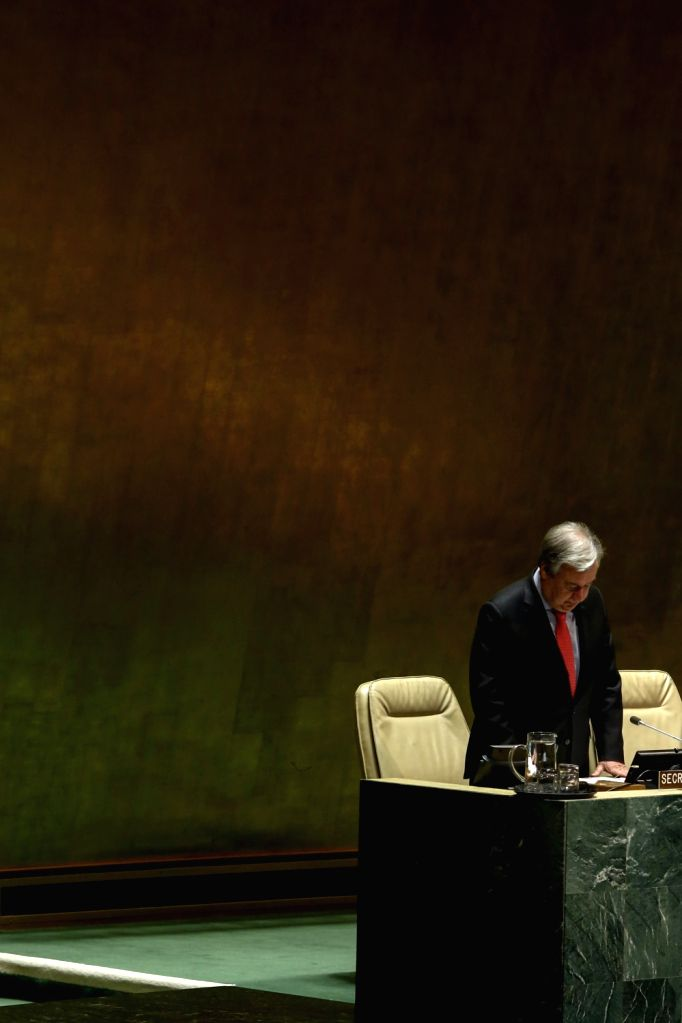 UNITED NATIONS, March 11, 2019 - United Nations Secretary-General Antonio Guterres observes a minute of silence for the UN staff members killed in the Ethiopian air crash at the UN headquarters in ...