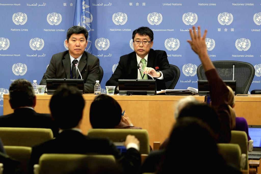 UNITED NATIONS, March 13, 2017 - The Democratic People's Republic of Korea (DPRK) ambassador to the United Nations Kim In Ryong (R, Rear) attends a press conference at the United Nations headquarters ...