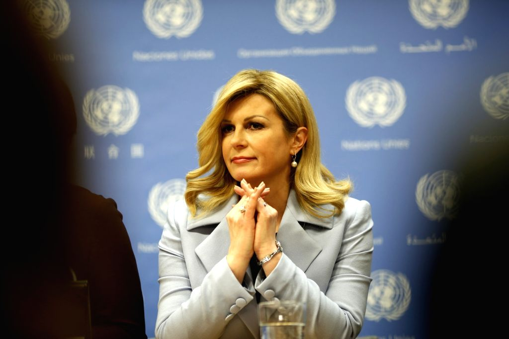 UNITED NATIONS, March 13, 2019 - Croatian President Kolinda Grabar-Kitarovic attends a press briefing on a high-level event on Women in Power at the United Nations headquarters in New York, March 12, ...