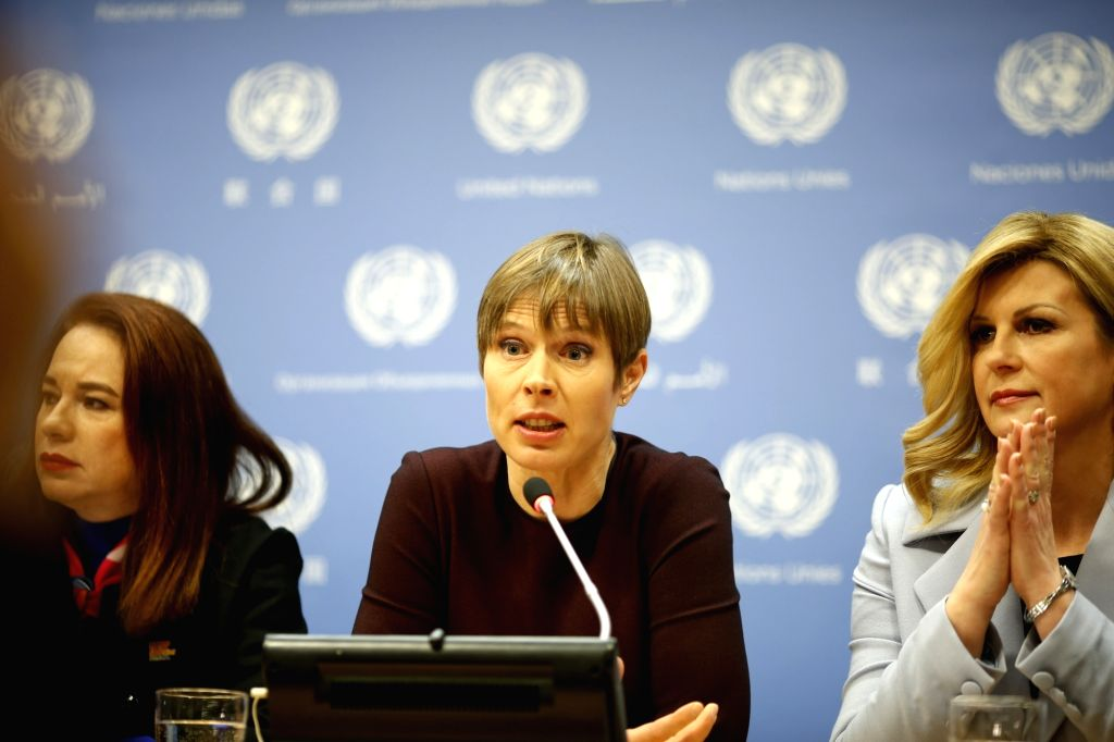 UNITED NATIONS, March 13, 2019 - Estonian President Kersti Kaljulaid (C) speaks during a press briefing on a high-level event on Women in Power at the United Nations headquarters in New York, March ...