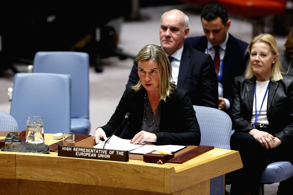 UNITED NATIONS, March 13, 2019 - European Union's foreign affairs and security policy chief Federica Mogherini addresses a debate of the UN Security Council on the UN-EU cooperation at the UN ...