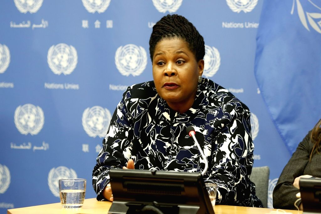 UNITED NATIONS, March 13, 2019 - President of Trinidad and Tobago Paula-Mae Weekes speaks during a press briefing on a high-level event on Women in Power at the United Nations headquarters in New ...