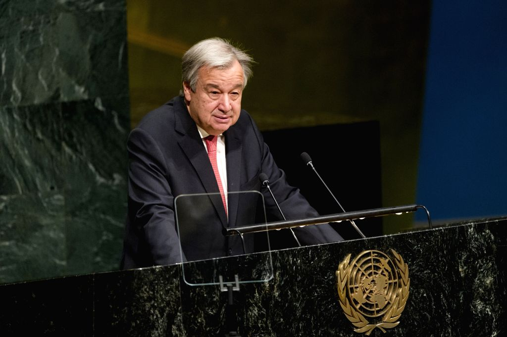 UNITED NATIONS, March 14, 2017 - United Nations Secretary-General Antonio Guterres addresses the opening meeting of the 61st session of the UN Commission on the Status of Women at the UN headquarters ...