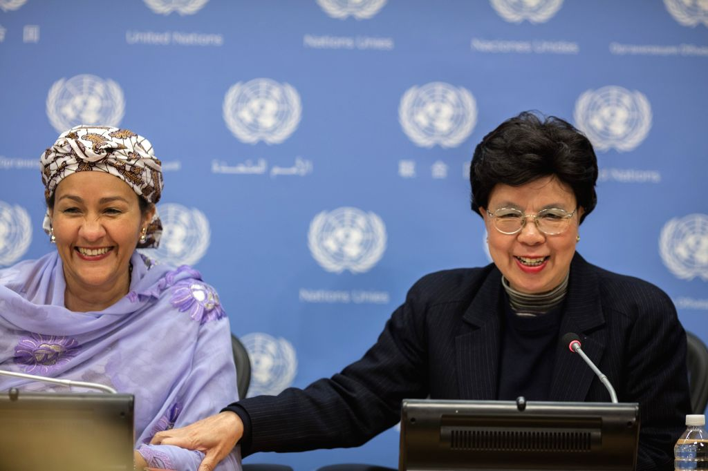 UNITED NATIONS, March 17, 2017 - UN Deputy Secretary-General Amina Mohamed (L) and World Health Organization (WHO) Director-General Margaret Chan attend a press conference at the UN headquarters in ...