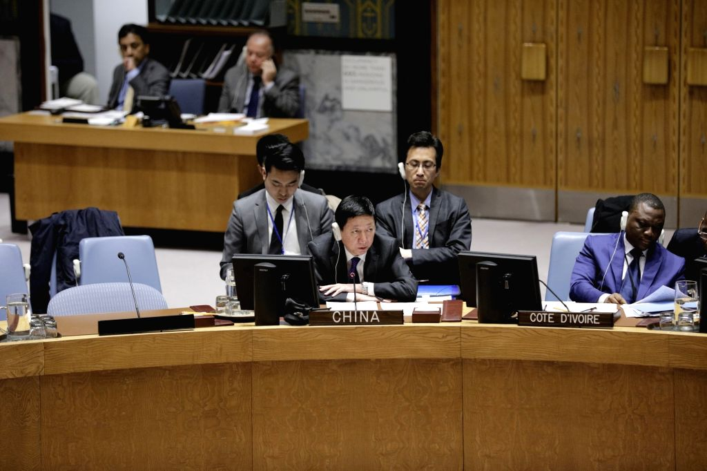UNITED NATIONS, March 27, 2018 - China's deputy permanent representative to the United Nations Wu Haitao (L, front) addresses a United Nations Security Council meeting on the humanitarian situation ...