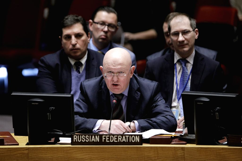 UNITED NATIONS, March 27, 2018 - Russian Ambassador to the United Nations Vassily Nebenzia (front) addresses a United Nations Security Council meeting on the humanitarian situation in Syria, at the ...
