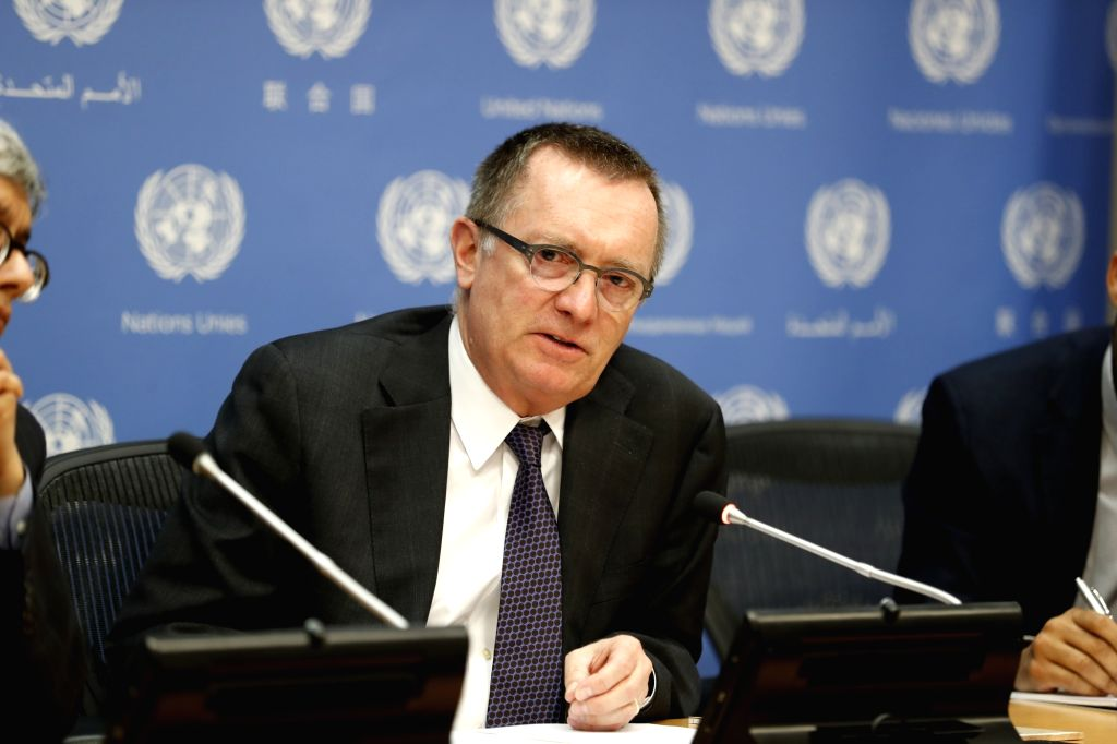 UNITED NATIONS, March 29, 2018 - Outgoing UN Undersecretary-General for Political Affairs Jeffrey Feltman attends a press conference at the United Nations headquarters in New York, on March 29, 2018. ...