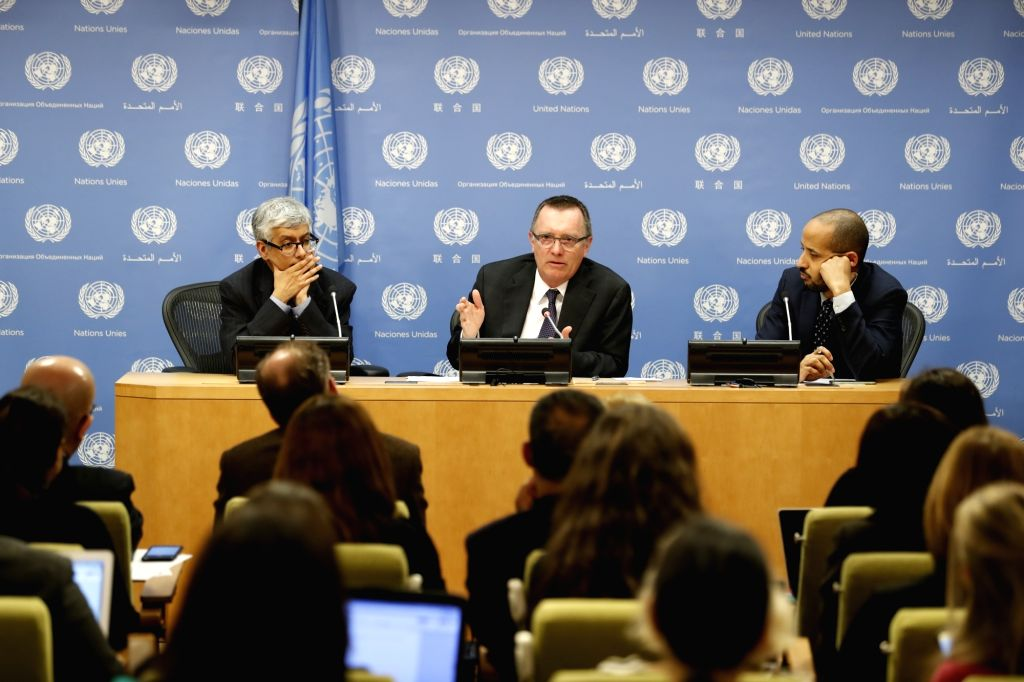UNITED NATIONS, March 29, 2018 - Outgoing UN Undersecretary-General for Political Affairs Jeffrey Feltman (C, Rear) addresses a press conference at the United Nations headquarters in New York, on ...