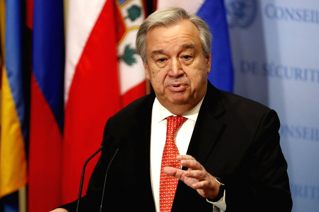 UNITED NATIONS, March 29, 2018 - UN Secretary-General Antonio Guterres speaks during a press encounter at the UN headquarters in New York, on March 29, 2018. UN Secretary-General Antonio Guterres ...