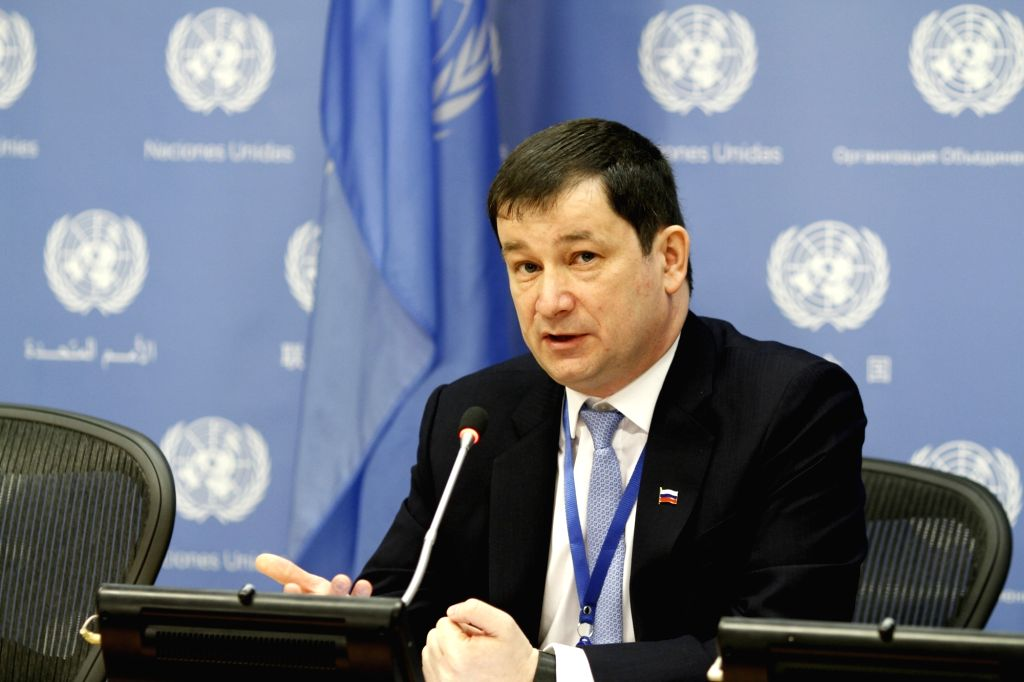 UNITED NATIONS, March 4, 2019 - Russian First Deputy Permanent Representative to the United Nations Dmitry Polyanskiy speaks at a press conference at the UN headquarters in New York, on March 4, ...