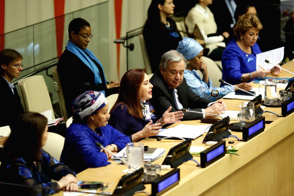 UNITED NATIONS, March 8, 2019 - Maria Fernanda Espinosa Garces (3rd L, front), President of the 73rd session of the United Nations General Assembly, makes remarks for the observance of International ...