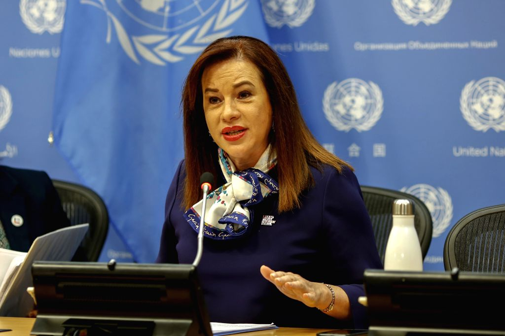 UNITED NATIONS, March 8, 2019 - Maria Fernanda Espinosa Garces, President of the United Nations General Assembly, speaks during a press briefing at the UN headquarters in New York, March 8, 2019. ...