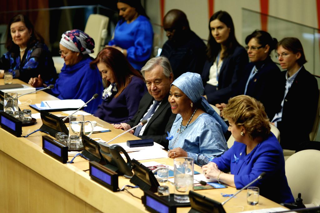 UNITED NATIONS, March 8, 2019 - Phumzile Mlambo-Ngcuka (2nd R, front), Executive Director of UN Women, makes remarks for the observance of International Women's Day, at the UN headquarters in New ...