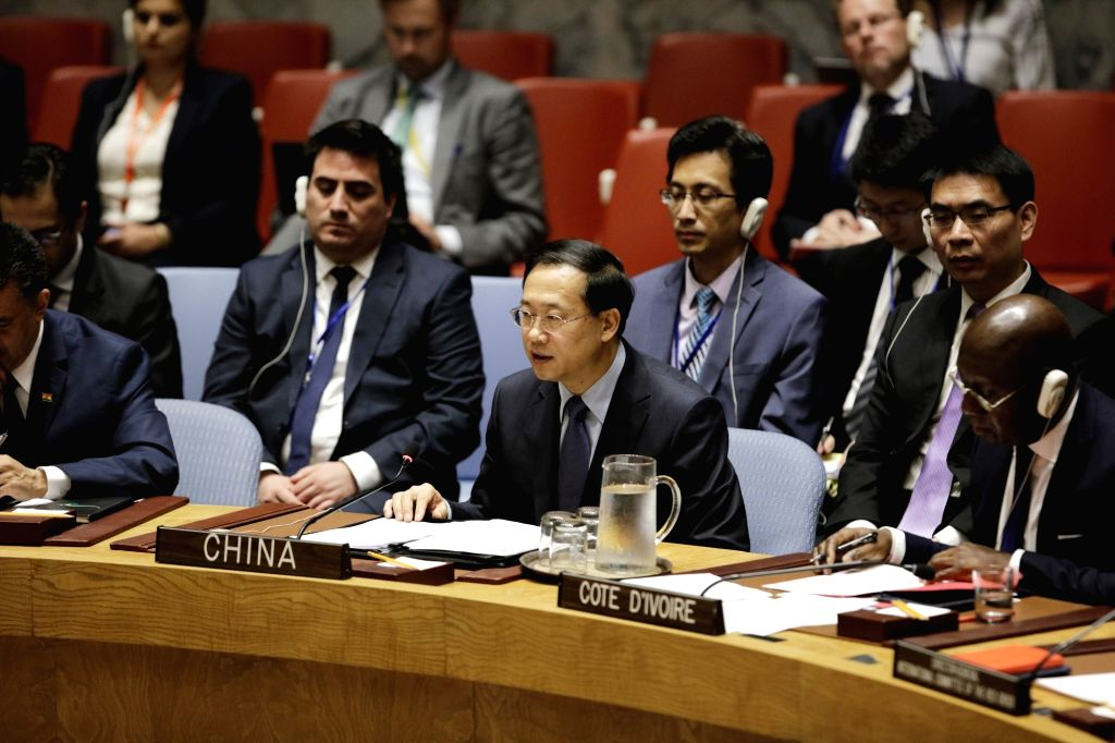 UNITED NATIONS, May 22, 2018 - Chinese Permanent Representative to the United Nations Ma Zhaoxu (C, Front) addresses a Security Council meeting on the protection of civilians in armed conflicts at ...