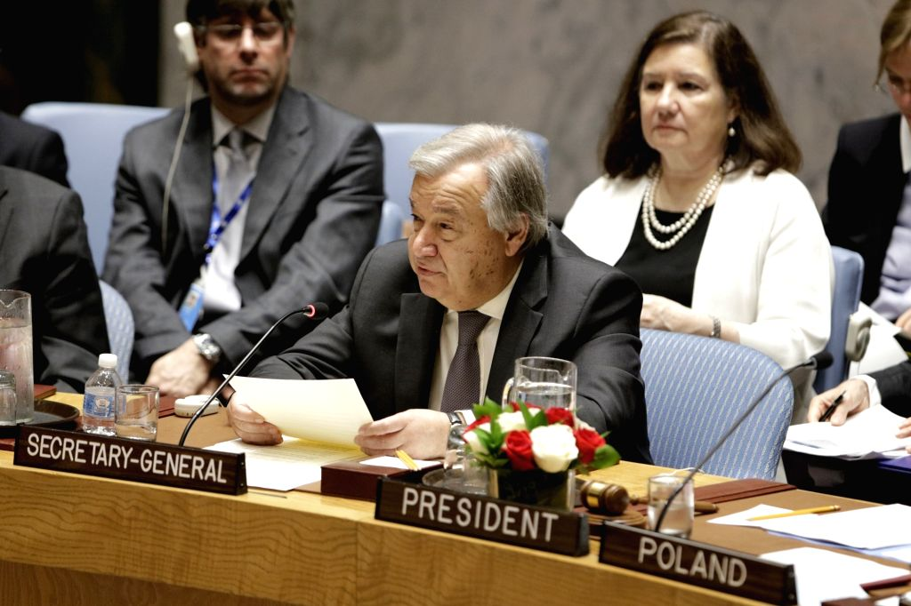 UNITED NATIONS, May 22, 2018 - United Nations Secretary-General Antonio Guterres (C) addresses a Security Council meeting on the protection of civilians in armed conflicts at the UN headquarters in ...