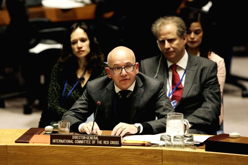 UNITED NATIONS, May 22, 2018 - Yves Daccord (Front), Director-General of the International Committee of the Red Cross (ICRC), addresses a Security Council meeting on the protection of civilians in ...