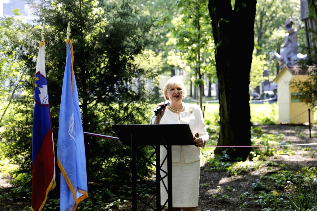 UNITED NATIONS, May 24, 2018 - Darja Bavdaz Kuret, Permanent Representative of Slovenia to the United Nations, addresses a special event celebrating the World Bee Day at the United Nations ...