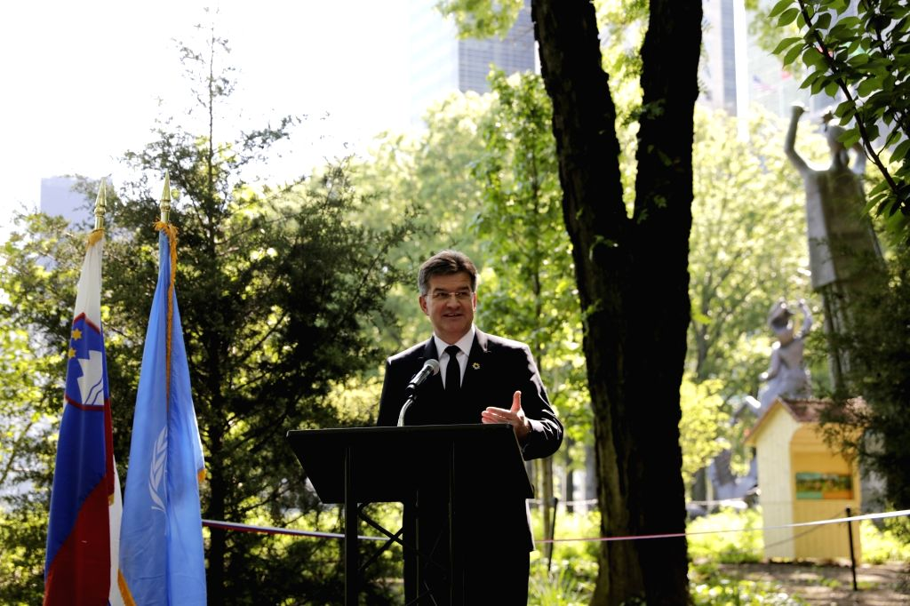UNITED NATIONS, May 24, 2018 - President of the 72nd session of the United Nations General Assembly Miroslav Lajcak addresses a special event celebrating the World Bee Day at the United Nations ...
