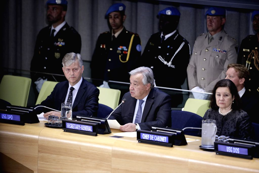 UNITED NATIONS, May 24, 2019 - United Nations Secretary-General Antonio Guterres (C, front) speaks during the Diagne Medal award ceremony at the UN headquarters in New York, May 24, 2019. A Malawian ... - Mbaye Diagne Medal