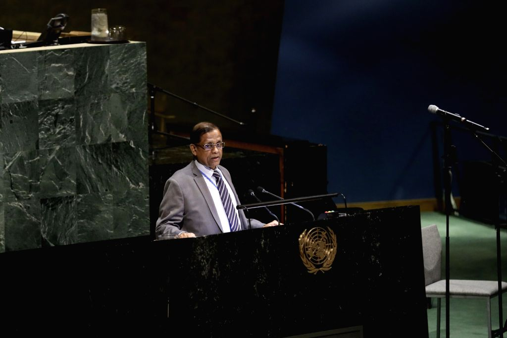 UNITED NATIONS, May 3, 2019 - Amrith Rohan Perera, Permanent Representative of Sri Lanka to the United Nations, addresses an event to commemorate the victims of the Easter Sunday attacks in Sri ...