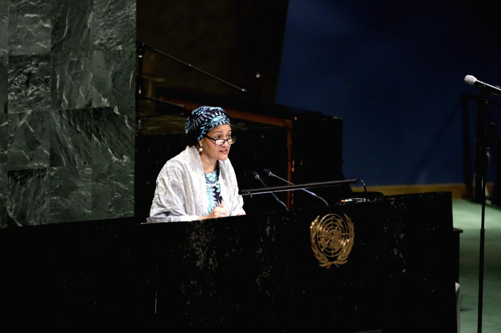 UNITED NATIONS, May 3, 2019 - United Nations Deputy Secretary-General Amina Mohammed addresses an event to commemorate the victims of the Easter Sunday attacks in Sri Lanka, at the UN headquarters in ...