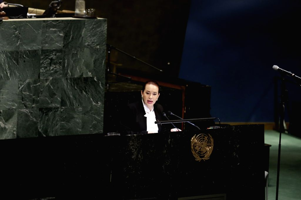 UNITED NATIONS, May 3, 2019 - United Nations General Assembly President Maria Fernanda Espinosa Garces addresses an event to commemorate the victims of the Easter Sunday attacks in Sri Lanka, at the ...