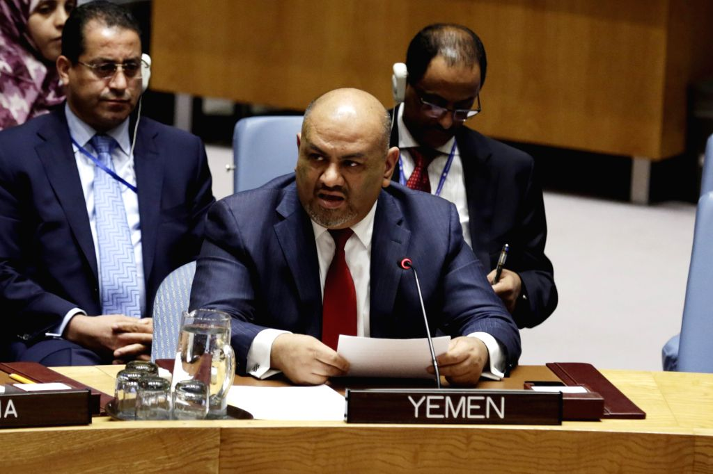 UNITED NATIONS, Nov. 1, 2016 - Khaled Hussein Mohamed Alyemany, permanent representative of Yemen to the United Nations, briefs the Security Council on the situation in his country, at the UN ...