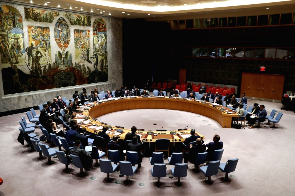 UNITED NATIONS, Nov. 2, 2018 - Photo taken on Nov. 2, 2018 shows the Security Council meeting on the situation in Libya at the United Nations headquarters in New York. The chief prosecutor of the ...