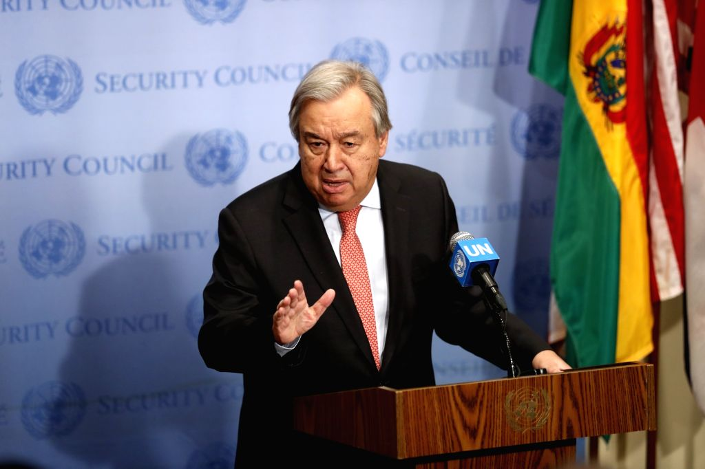 UNITED NATIONS, Nov. 2, 2018 - United Nations Secretary-General Antonio Guterres speaks to reporters at the UN headquarters in New York, Nov. 2, 2018. Guterres said Friday that half of Yemenis could ...