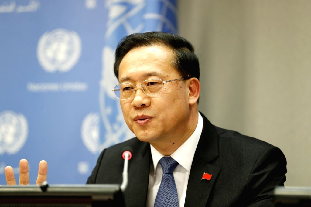 UNITED NATIONS, Nov. 30, 2018 (Xinhua) -- Ma Zhaoxu, China's permanent representative to the United Nations (UN) and president of the UN Security Council for November, briefs journalists on the council's work in November, at the UN headquarters in Ne