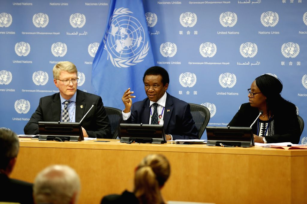 UNITED NATIONS, Oct. 1, 2019 (Xinhua) -- Jerry Matjila (C), permanent representative of South Africa to the UN and president of the Security Council for the month of October, speaks to journalists during a press briefing, at the UN headquarters in Ne