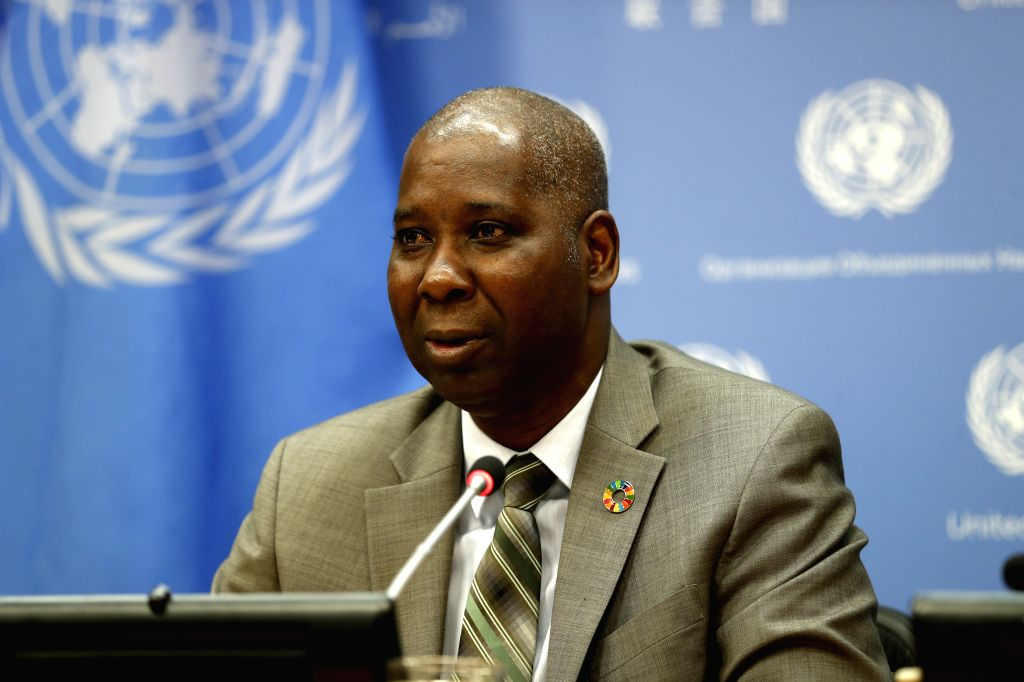 UNITED NATIONS, Oct. 1, 2019 (Xinhua) -- President of the United Nations General Assembly (UNGA) Tijjani Muhammad-Bande speaks to journalists during a press briefing at the UN headquarters in New York, Oct. 1, 2019. Tijjani Muhammad-Bande on Tuesday