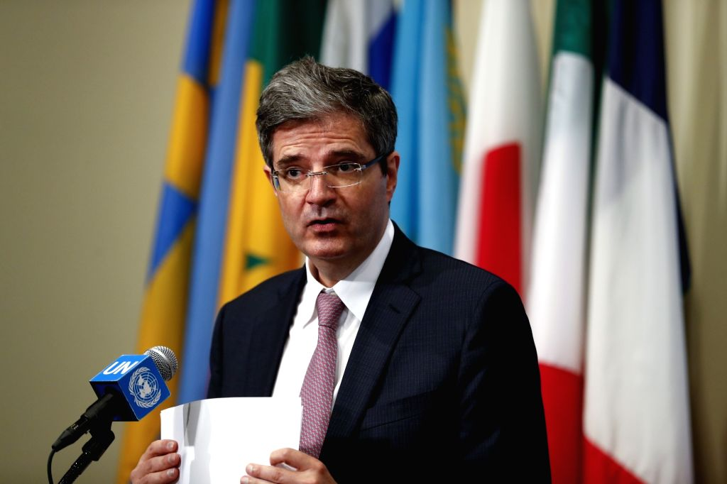 UNITED NATIONS, Oct. 10 French Ambassador to the United Nations Francois Delattre, who is president of the Security Council for October, speaks to the press on the situation in Yemen ...