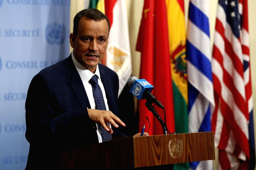 UNITED NATIONS, Oct. 10 Ismail Ould Cheikh Ahmed, United Nations Secretary-General Antonio Guterres' special envoy for Yemen, speaks to the press on the situation in Yemen during a press ...