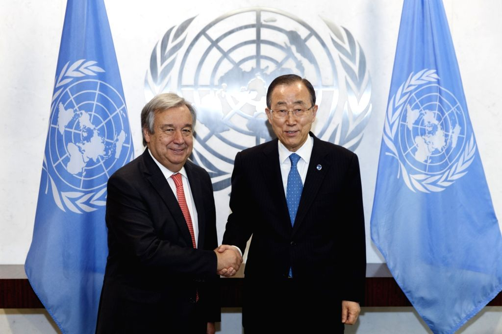 UNITED NATIONS, Oct. 13, 2016 - United Nations Secretary-General Ban Ki-moon (R) shakes hands with UN Secretary-General-designate Antonio Guterres at the UN headquarters in New York, Oct. 13, 2016. ... - Antonio Guterres