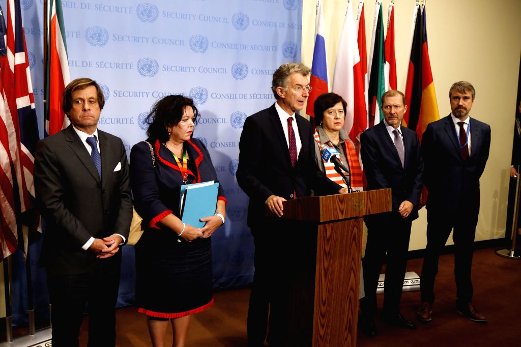 UNITED NATIONS, Oct. 17, 2019 - German Ambassador to the United Nations Christoph Heusgen (3rd L) briefs journalists on the situation in northeast Syria, at the UN headquarters in New York, Oct. 16, ...