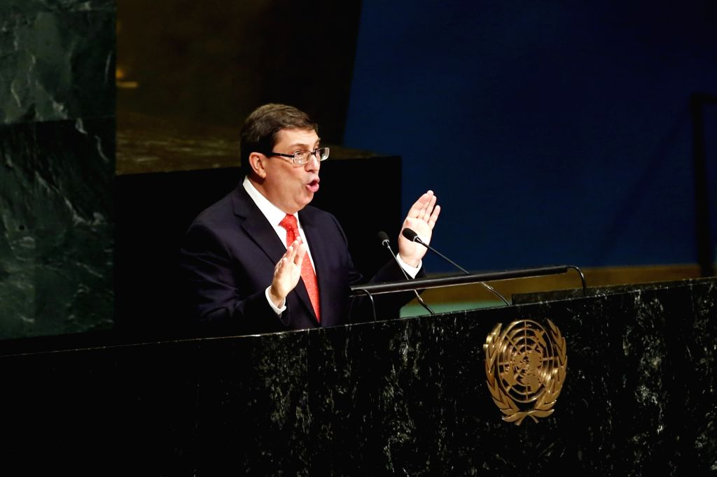 UNITED NATIONS, Oct. 26, 2016 - Bruno Rodriguez Parrilla, foreign minister of Cuba, addresses the United Nations General Assembly at the UN headquarters in New York, Oct. 26, 2016. The UN General ...