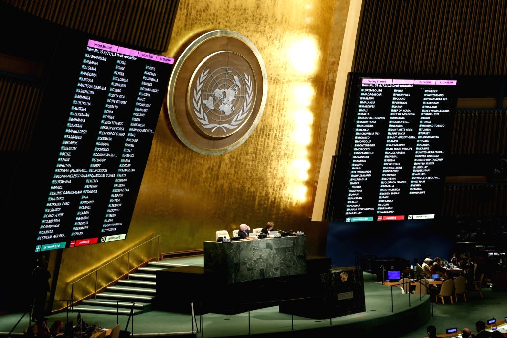 UNITED NATIONS, Oct. 26, 2016 - Voting result is seen as the United Nations General Assembly adopted a resolution urging an end to U.S. embargo on Cuba, and the United States abstained for the first ...
