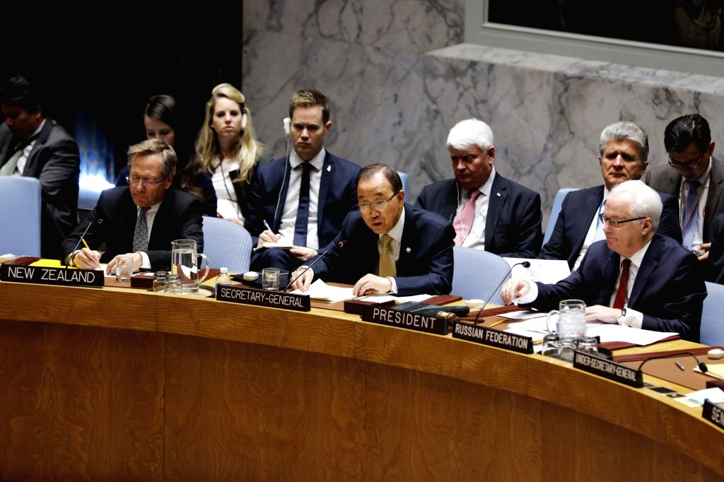 UNITED NATIONS, Oct. 28, 2016 - United Nations Secretary-General Ban Ki-moon (C, front) addresses the UN Security Council open debate on cooperation between the United Nations and regional and ...